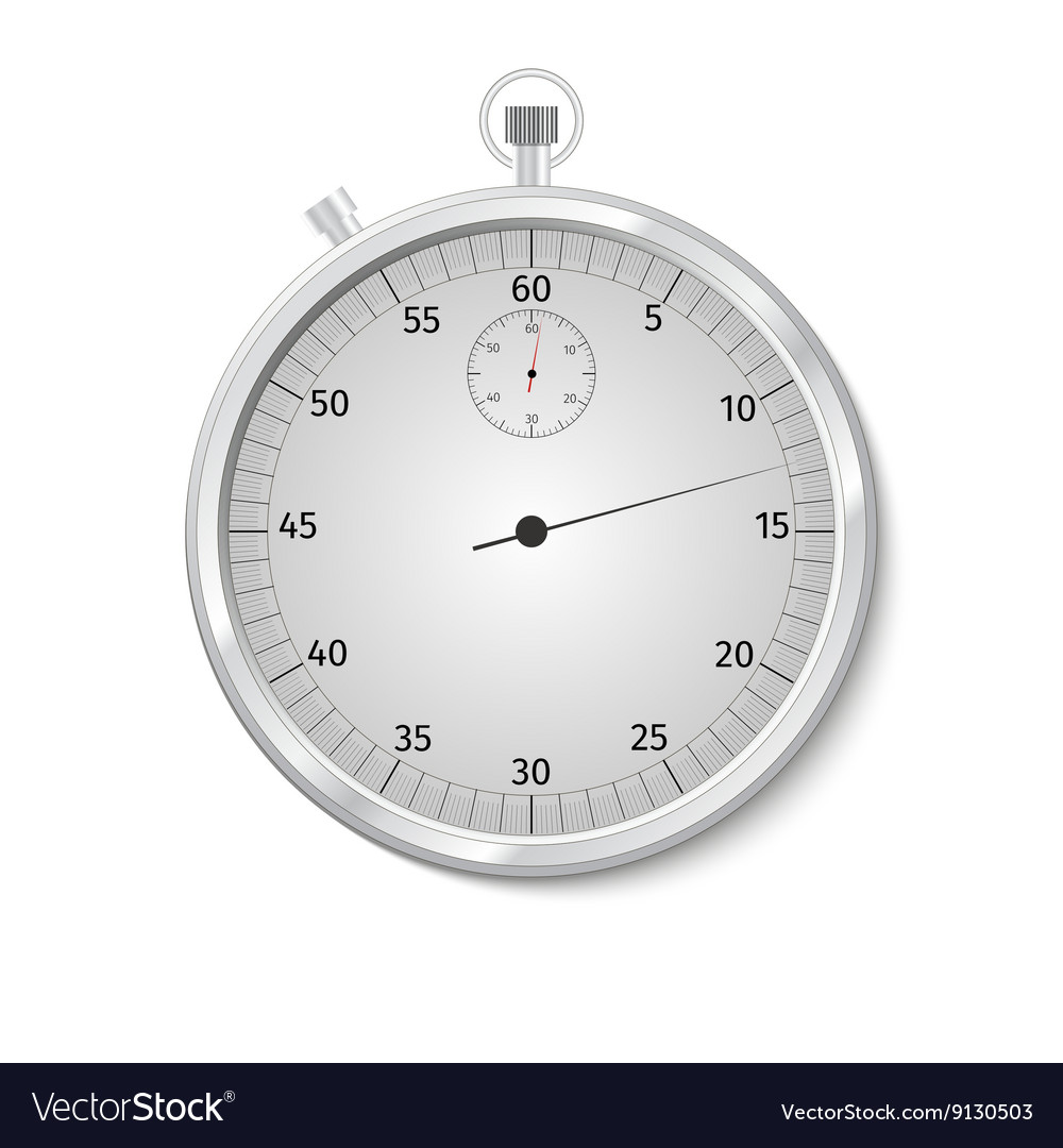 Realistic Classic Stopwatch Isolated on White vector image