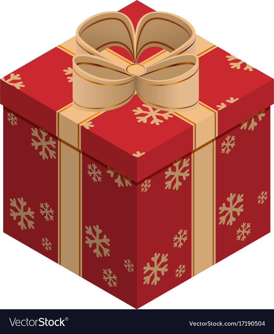 Christmas gift box isometric vector image