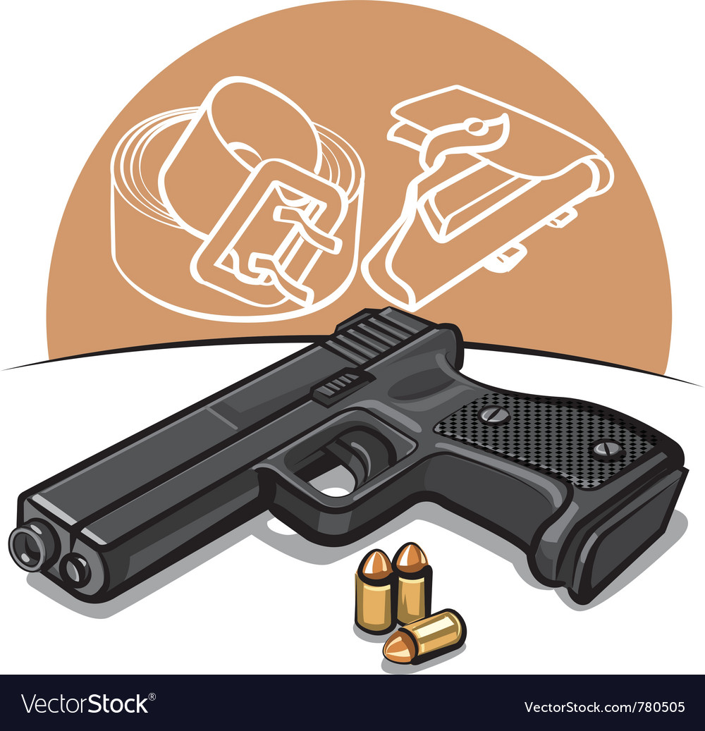 Automatic handgun vector image