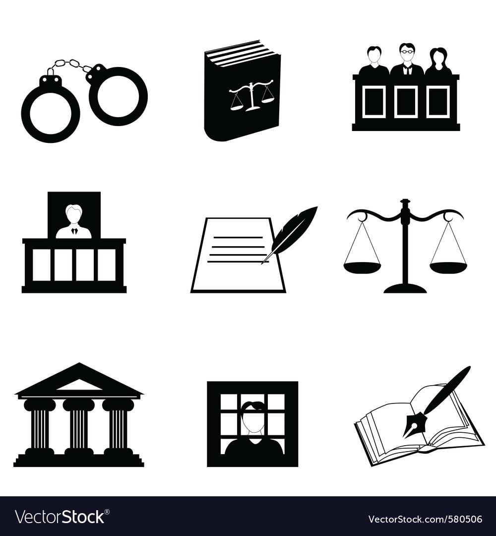 Law icons Royalty Free Vector Image - VectorStock