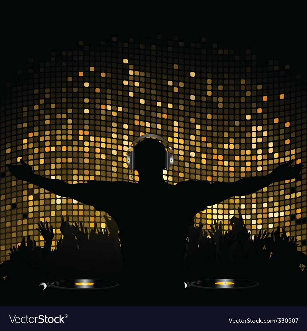 Gold mosaic dj and crowd vector image