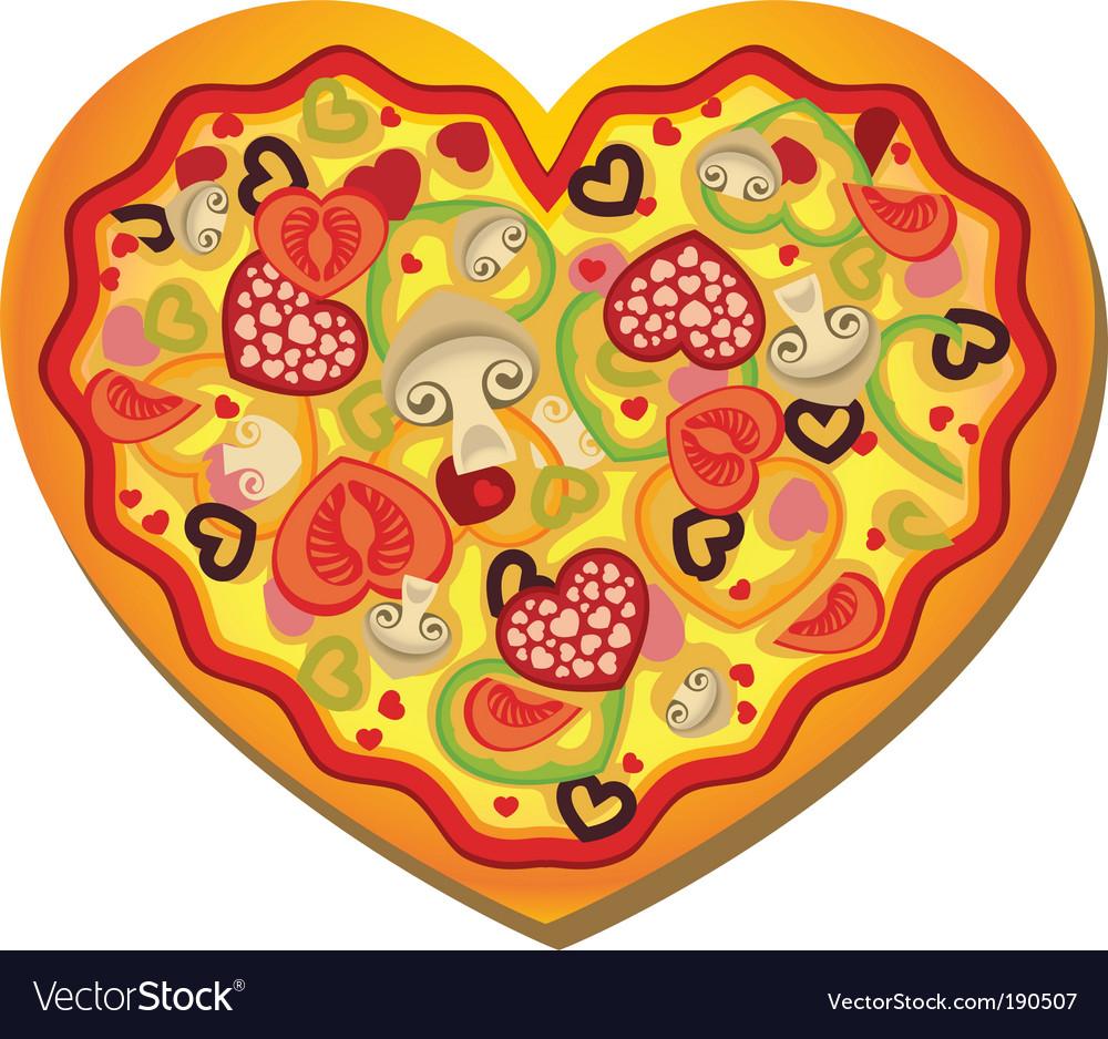 Heart shaped pizza vector image