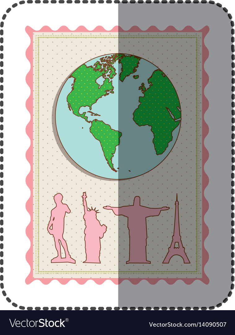 Sticker color pastel frame with world map and set vector image sticker color pastel frame with world map and set vector image gumiabroncs Images