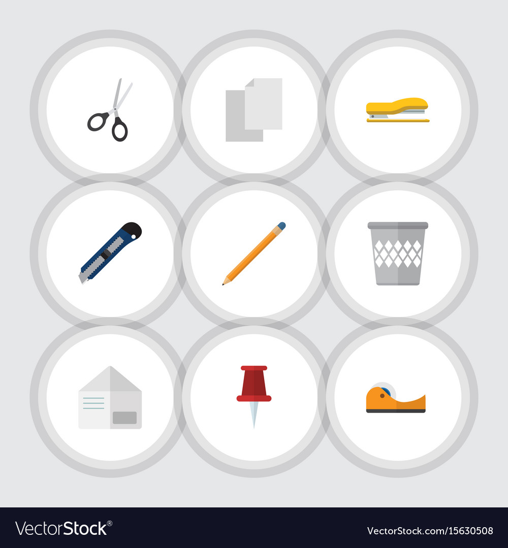Flat icon stationery set of supplies letter vector image