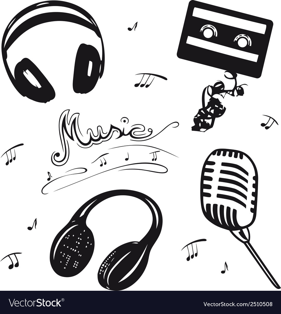 Retro music objects vector image