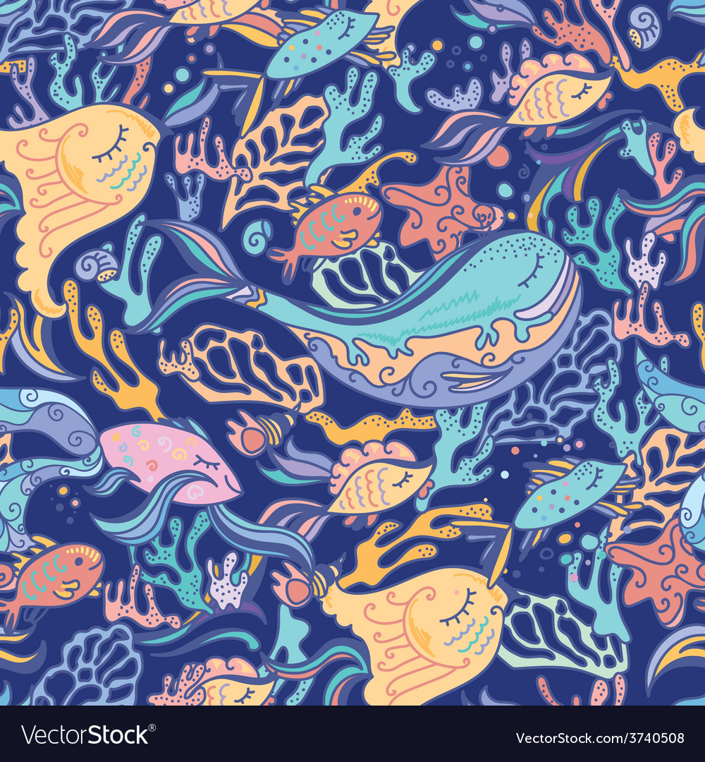 Sea pattern with whale vector image