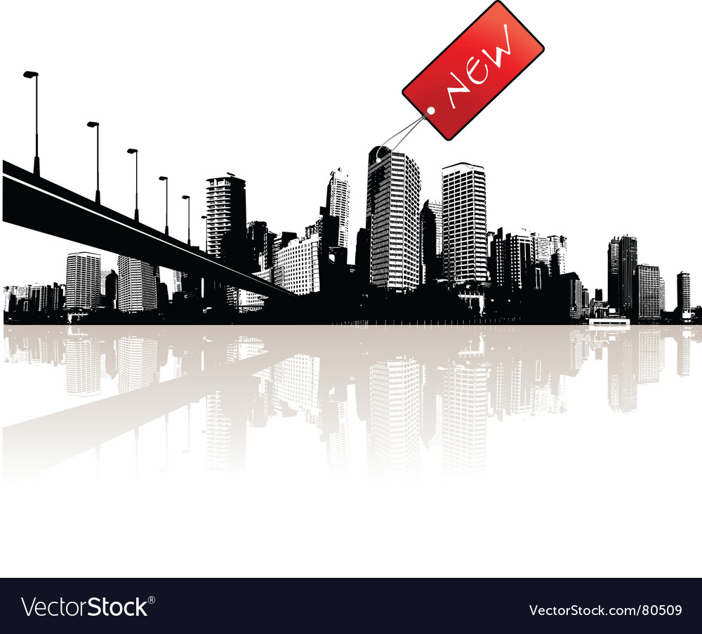 City with red tag vector image