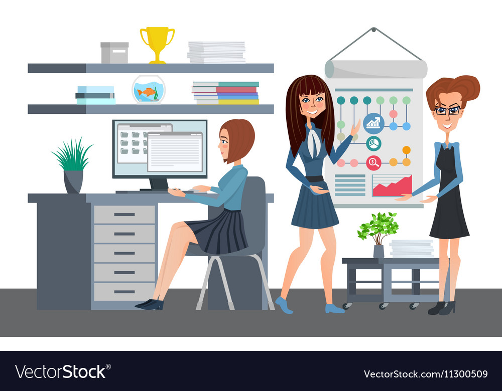 Business professional women work the team office vector image