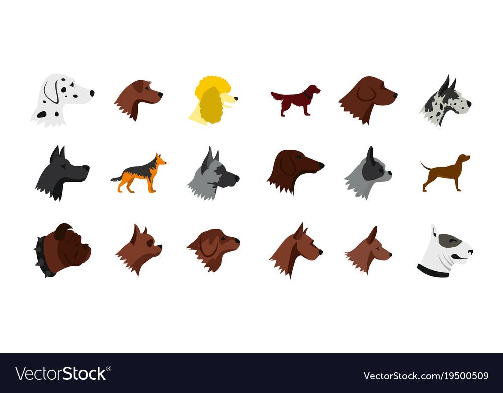 Dog icon set flat style vector image