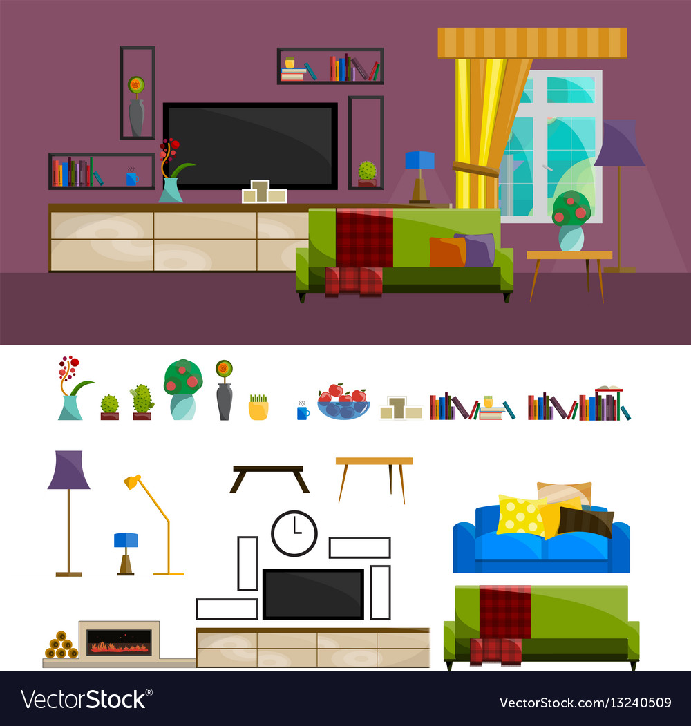 Flat interior set for home living room furniture vector image