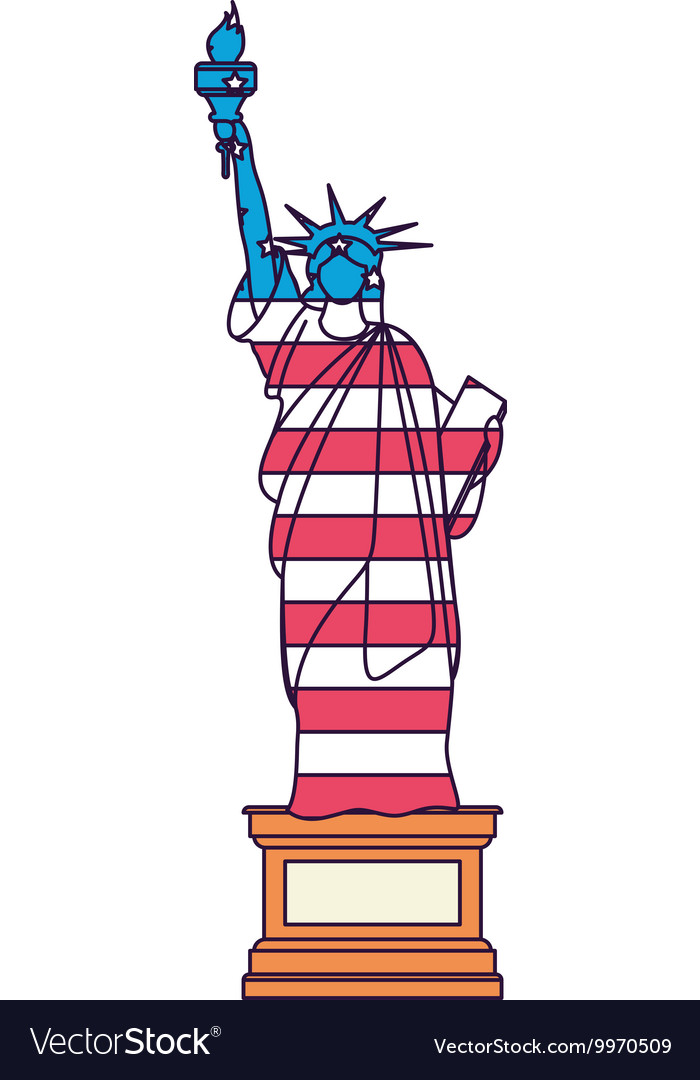 Liberty statue with flag isolated icon design vector image
