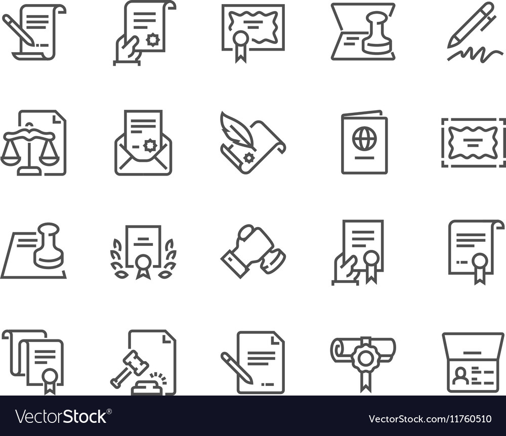 Line Legal Documents Icons vector image