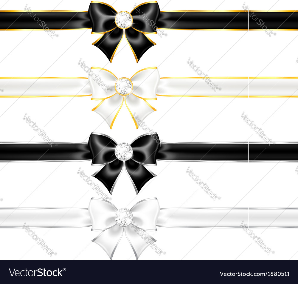 White and black bows with diamonds gold edging and vector image
