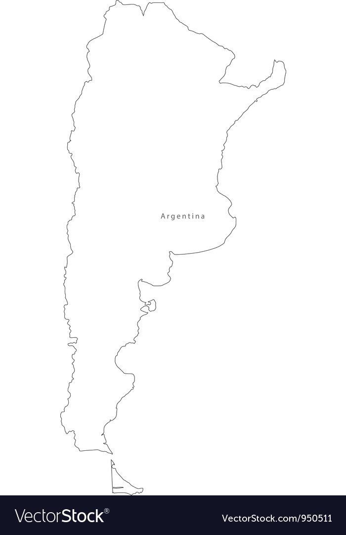 Black White Argentina Outline Map Royalty Free Vector Image - Argentina map outline