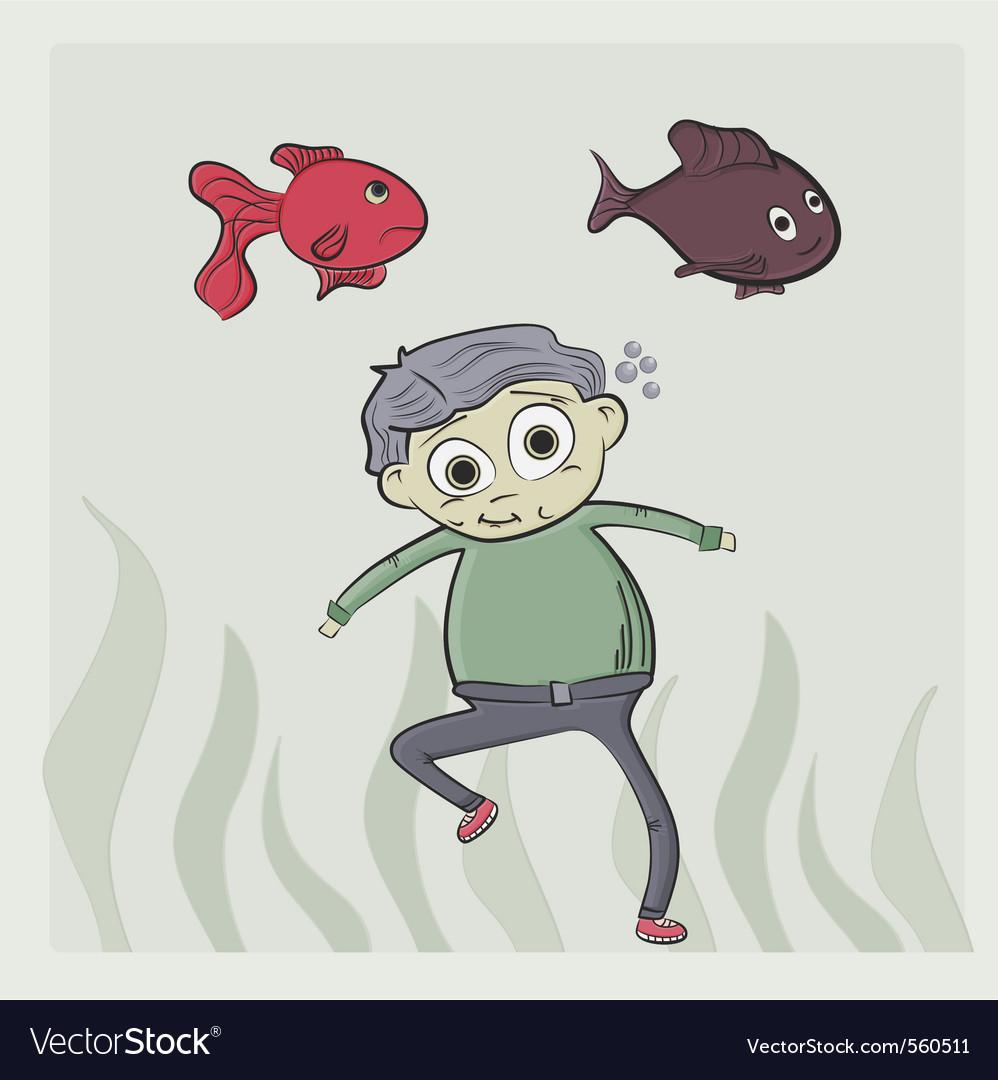 Kid swim vector image