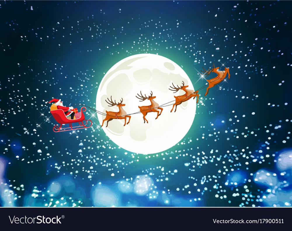 merry christmas santa claus in sleigh reindeer vector image - Christmas Santa Reindeer