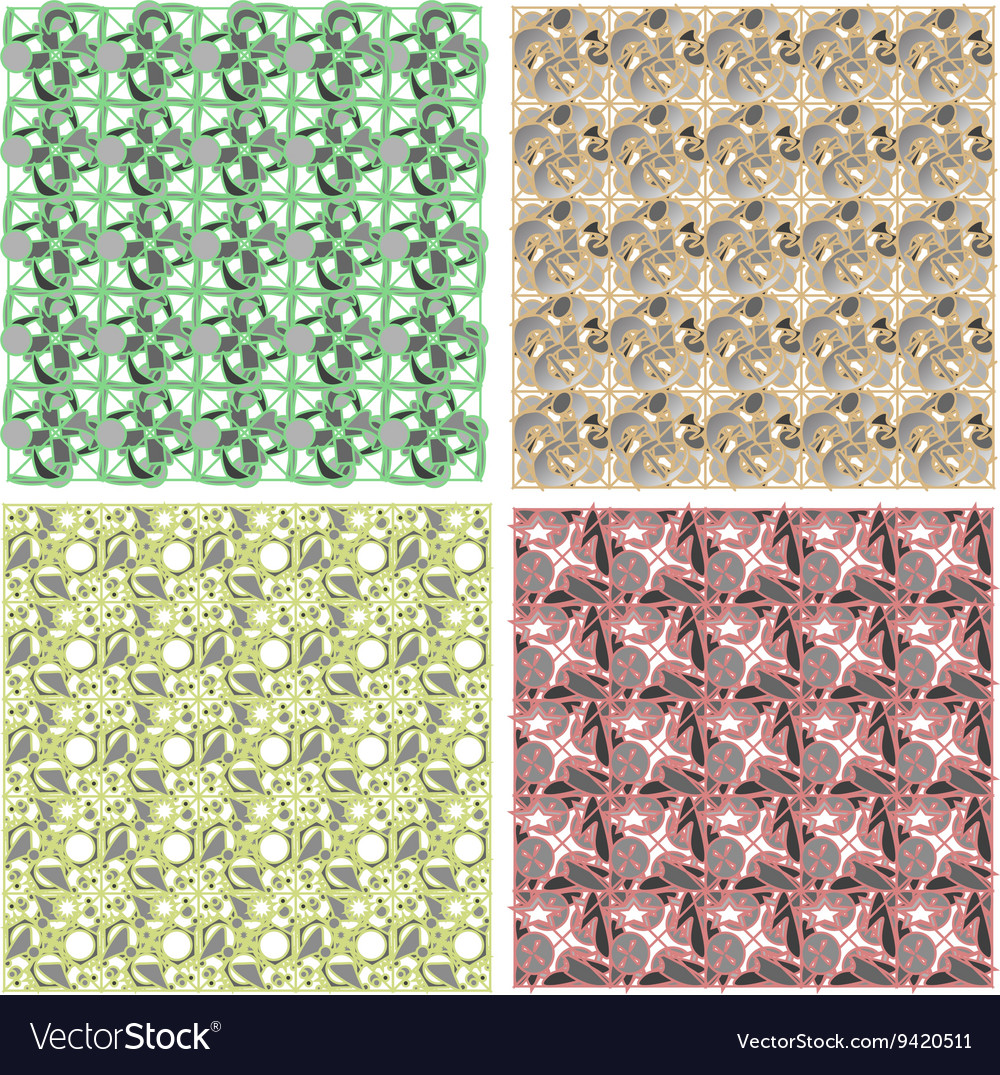 Set of arabesque pattern frame border vector image