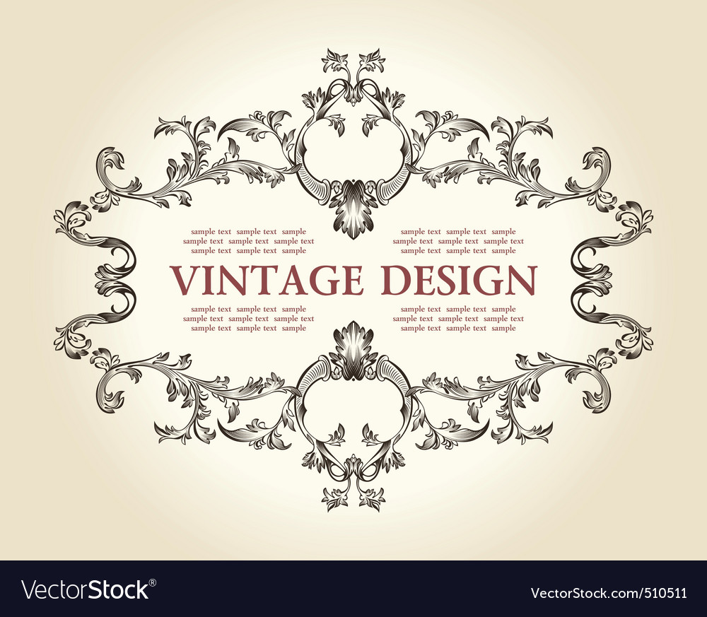 Vector vintage royal old frame ornament decor text vector image