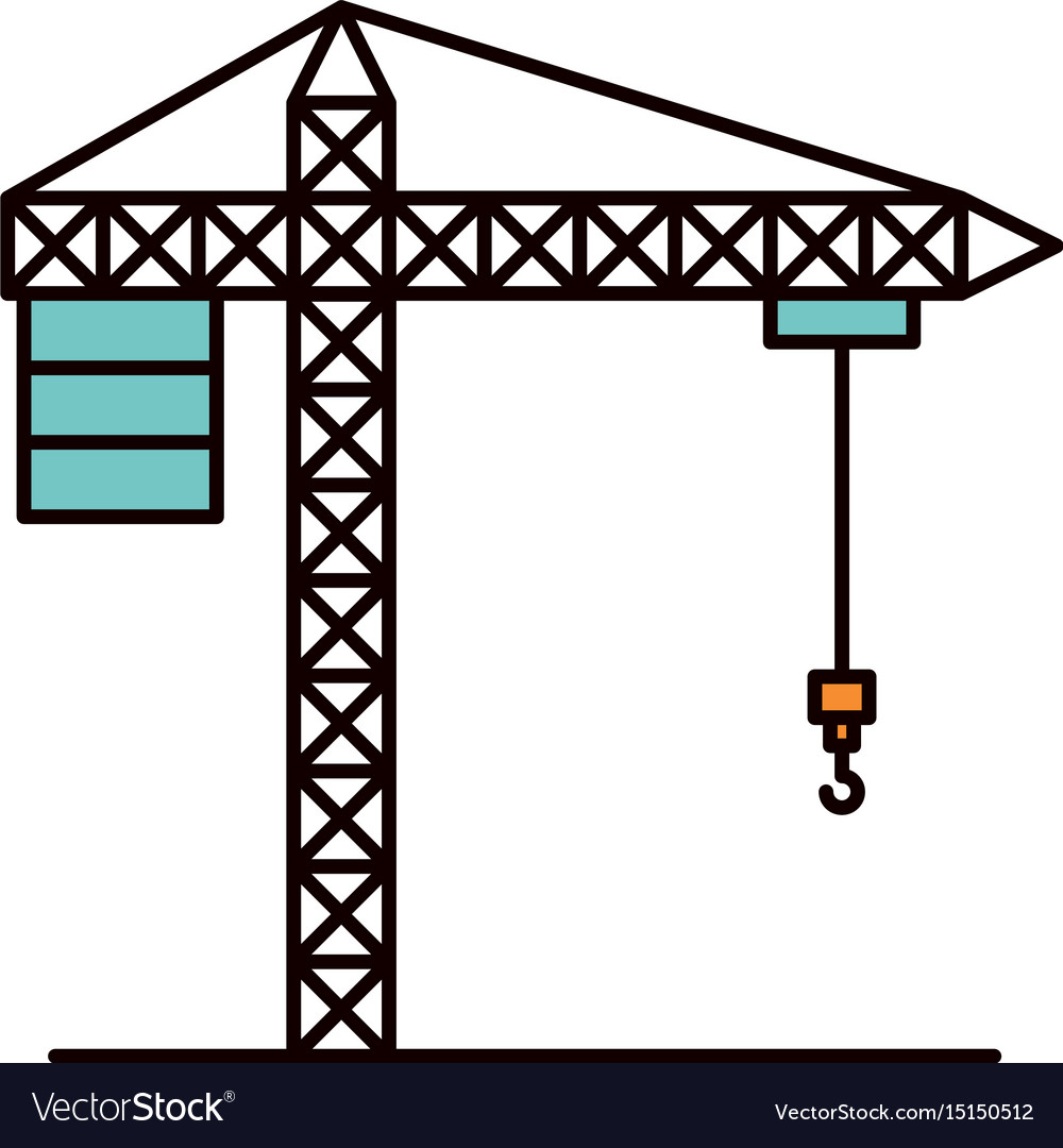 Color sketch silhouette crane machinery for vector image