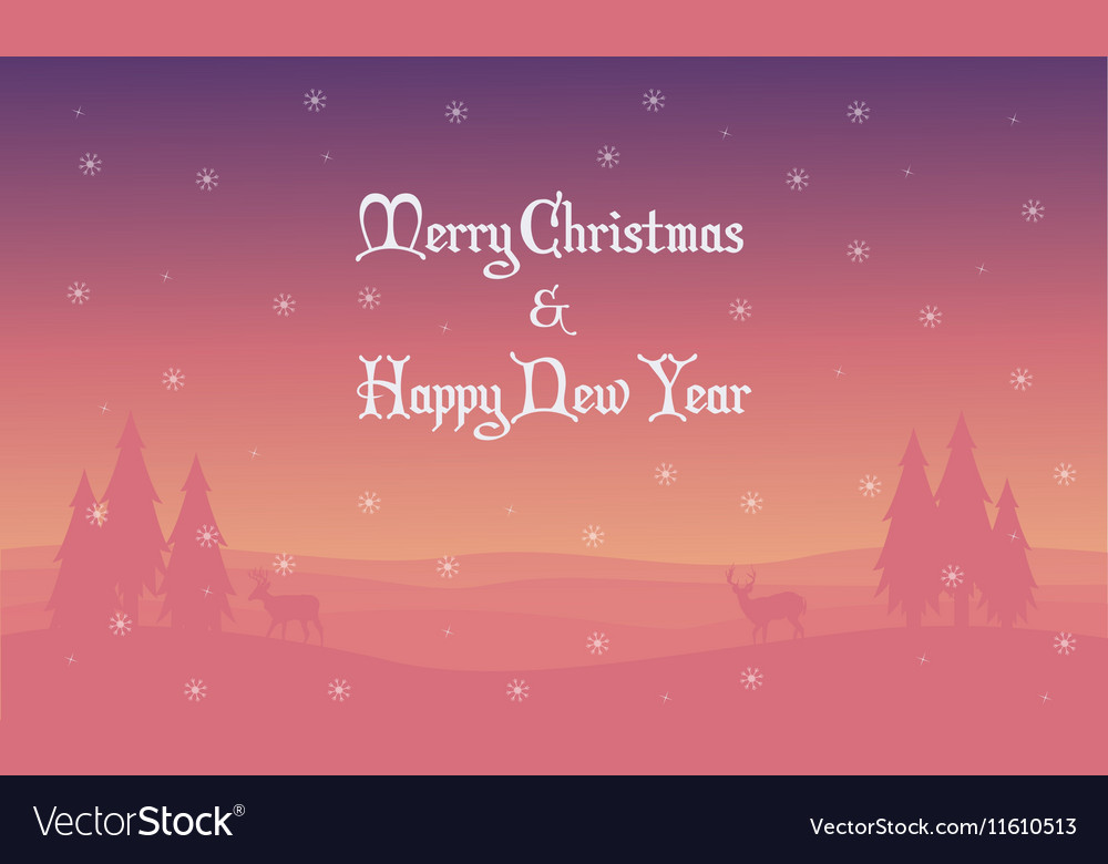 Merry Christmas landscape deer spruce silhouettes vector image