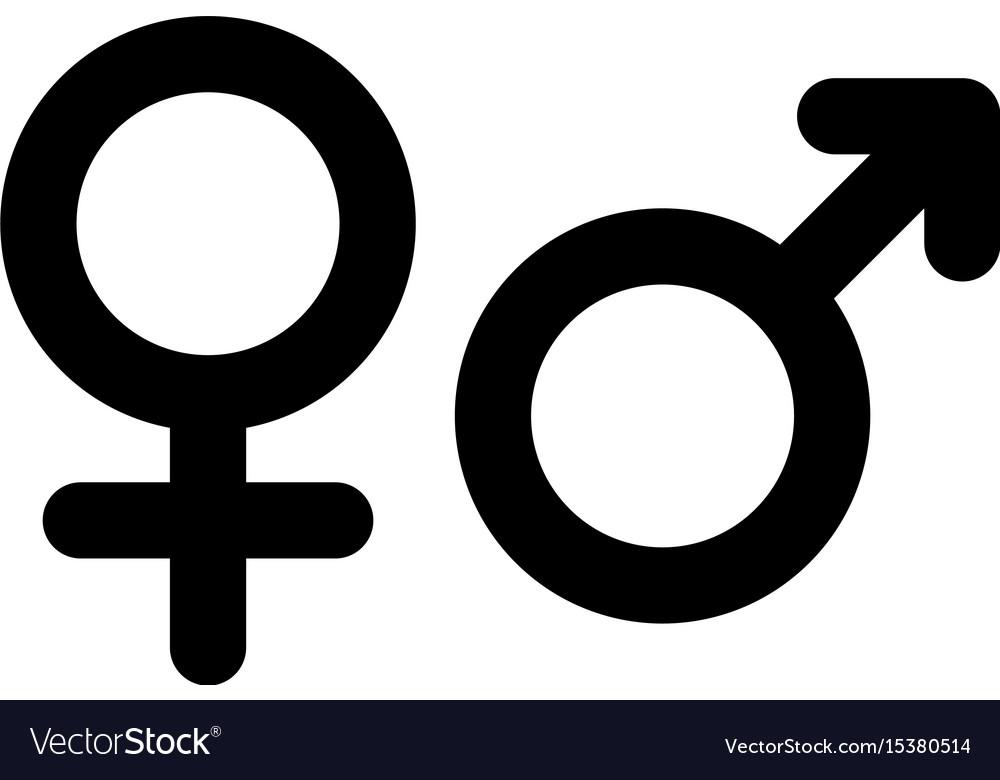 Male and female gender symbol simple black flat vector image