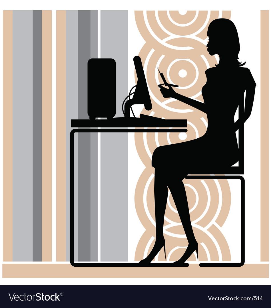 Stylish office girl vector image