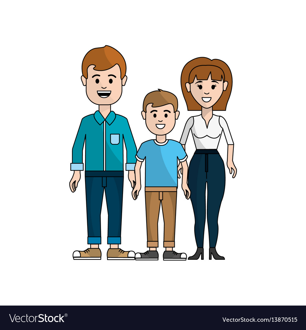 Couple with their son icon vector image