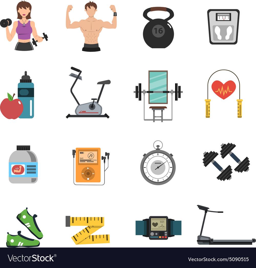 Gym Icon Flat Set vector image