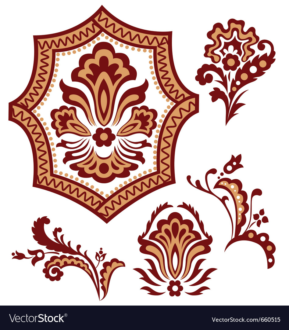 Tribal paisley flower pattern vector image