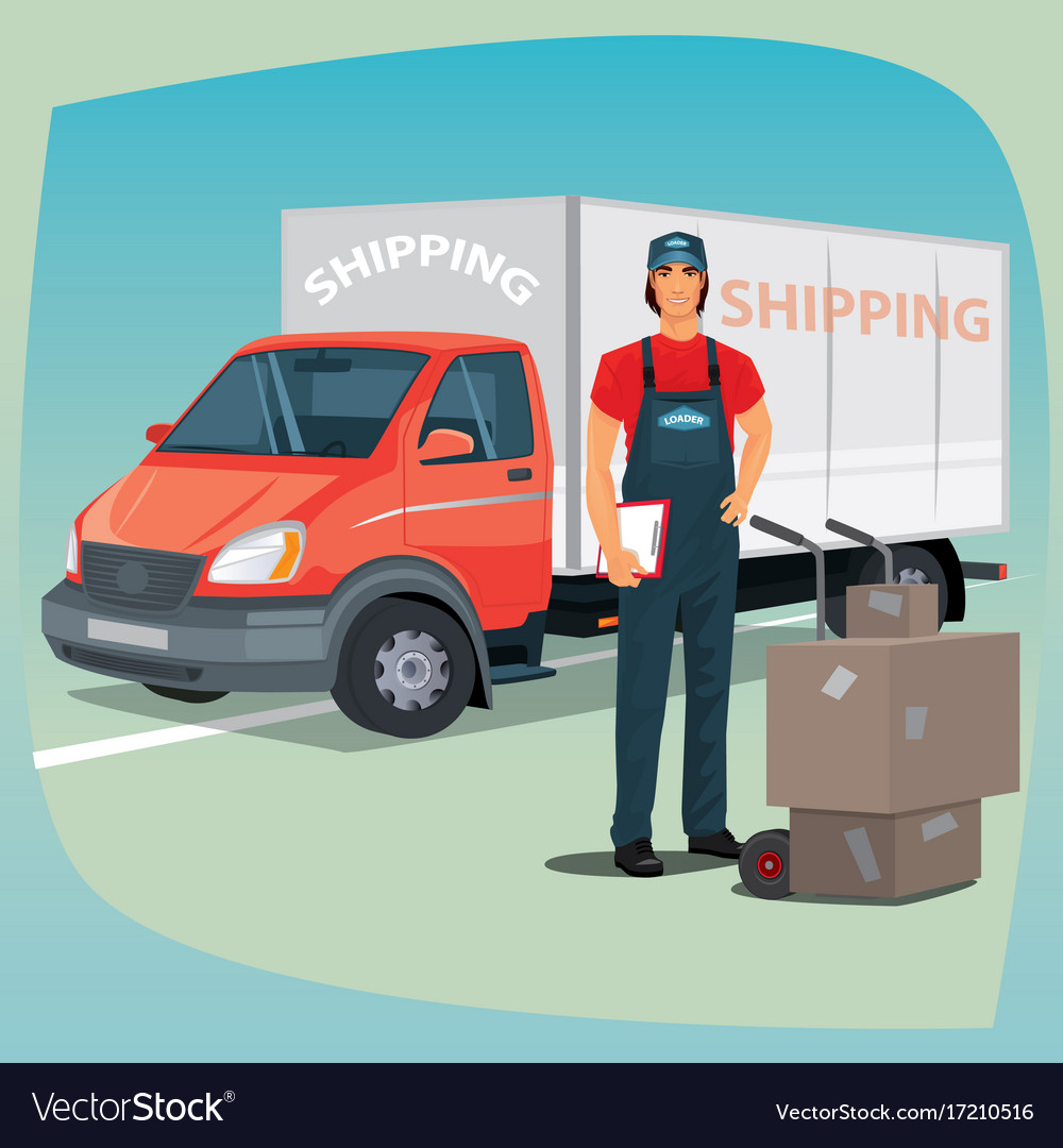 Man with hand truck trolley and box truck vector image