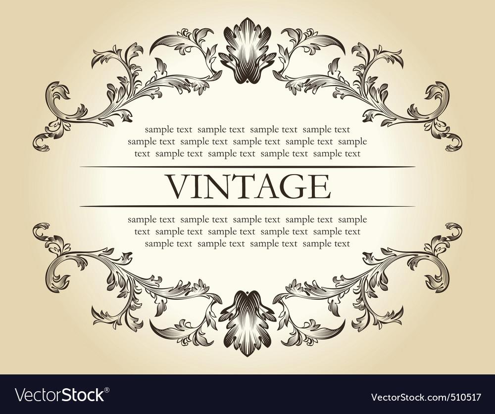 Vector vintage royal retro frame ornament decor te vector image