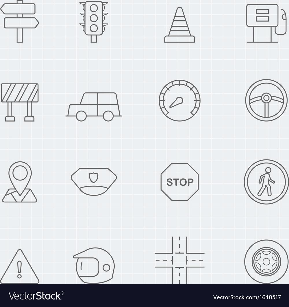 Traffic thin line symbol icon vector image