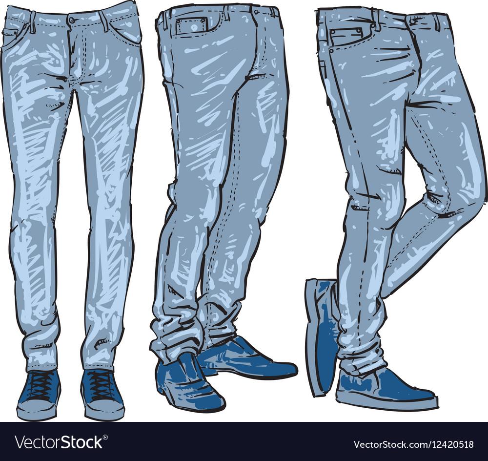 Blue jeans set denim clip art sketch Royalty Free Vector - photo#22