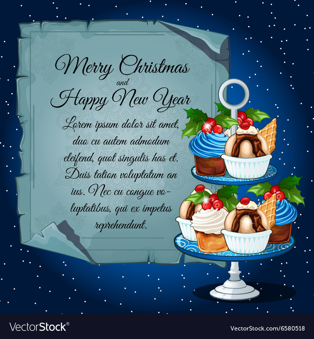 Cupcakes with holly berry and card for your text vector image