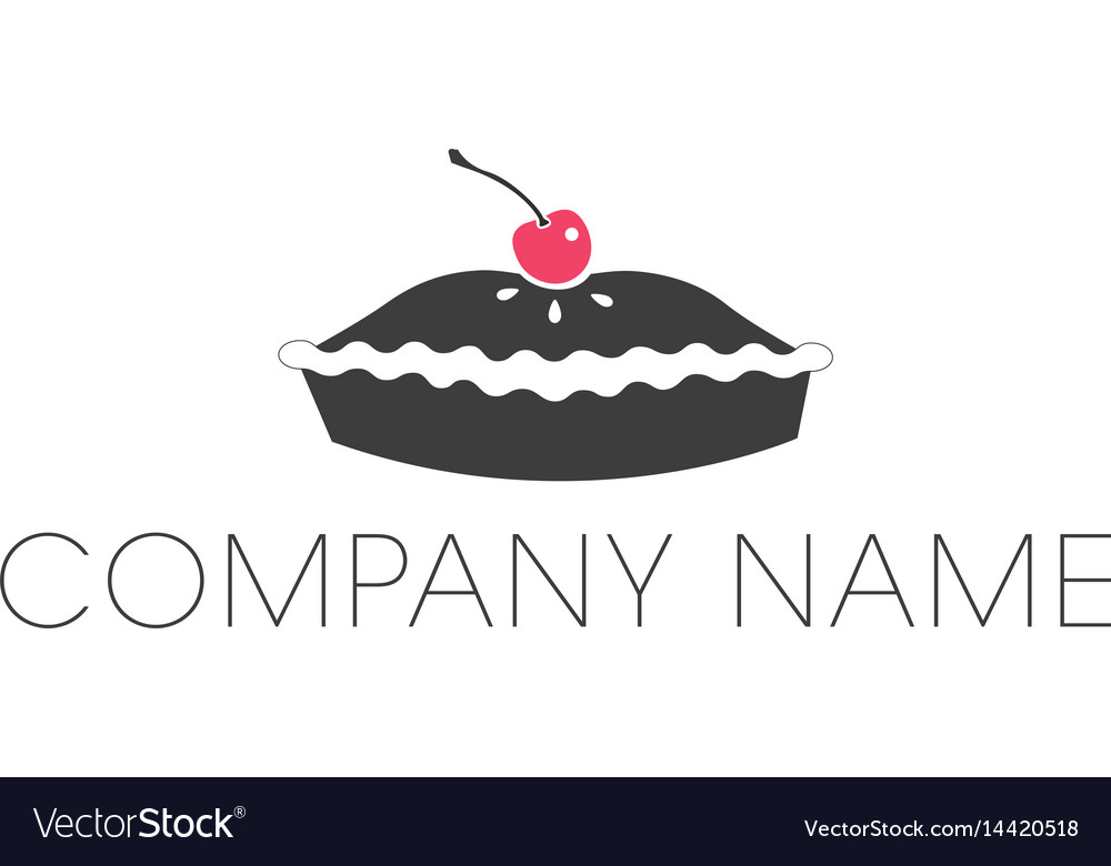 Pie logo with cherry icon and company name vector image