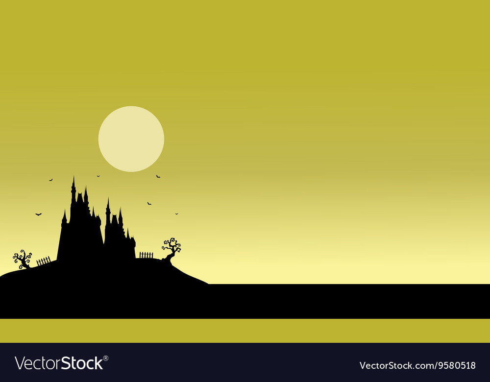 Silhouette of Halloween castle scenery vector image