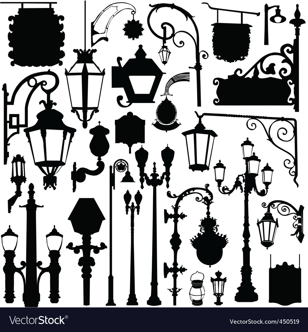 City light and sign vector image