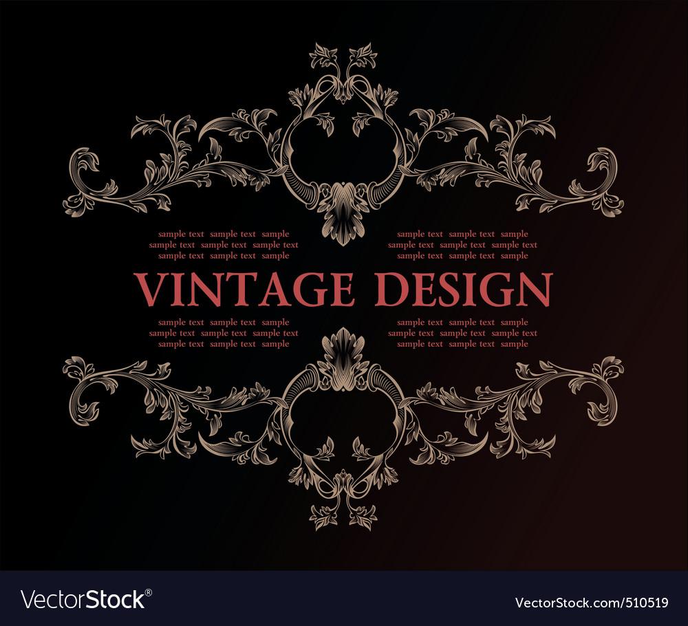 Vector vintage royal retro frame ornament decor vector image