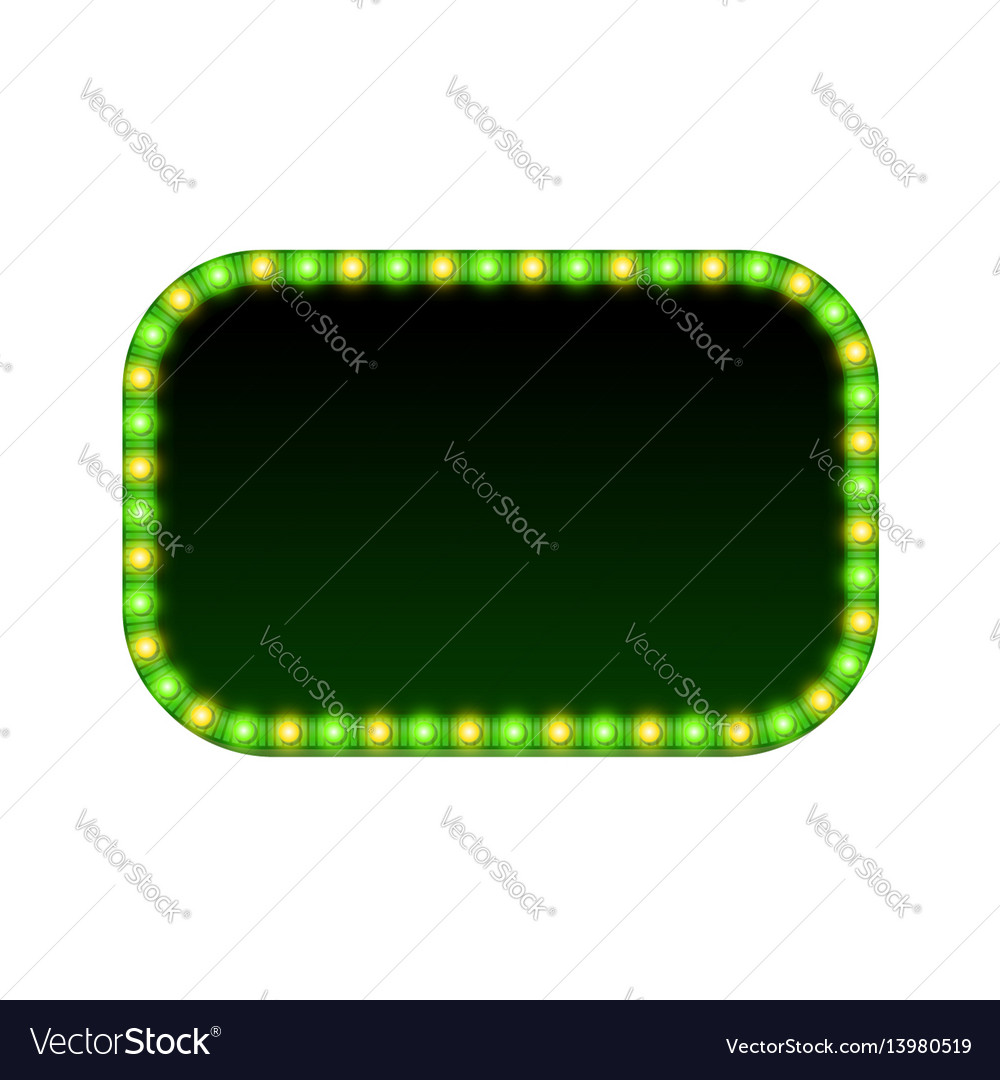 Blank 3d rectangular banner with shining lights vector image