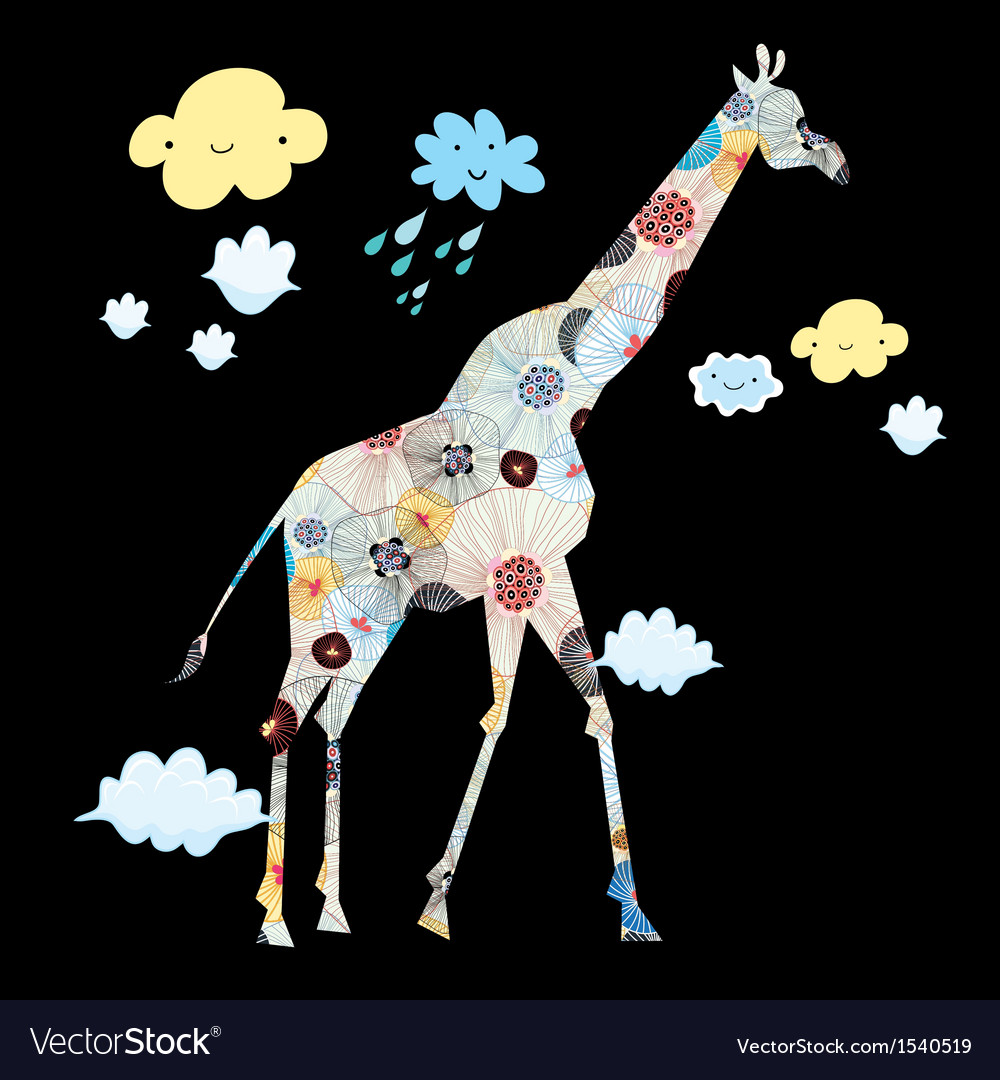 Decorative giraffe vector image