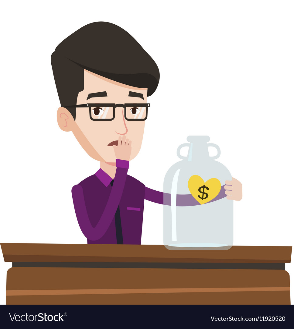 Bankrupt businessman looking at empty glass jar vector image