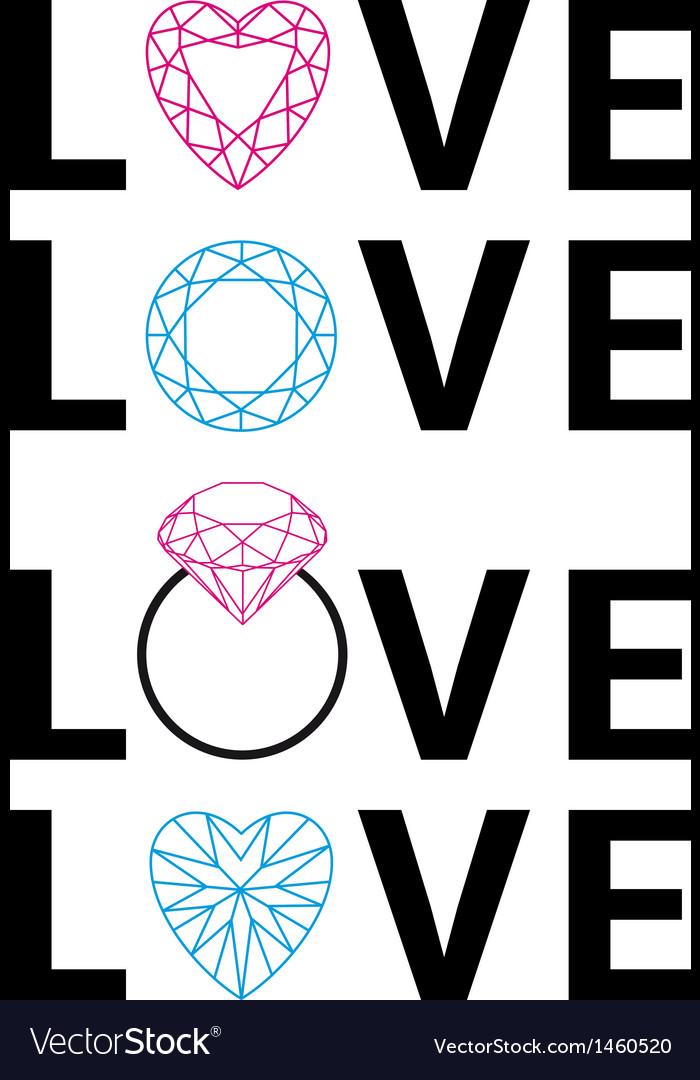 Diamond love word art vector image