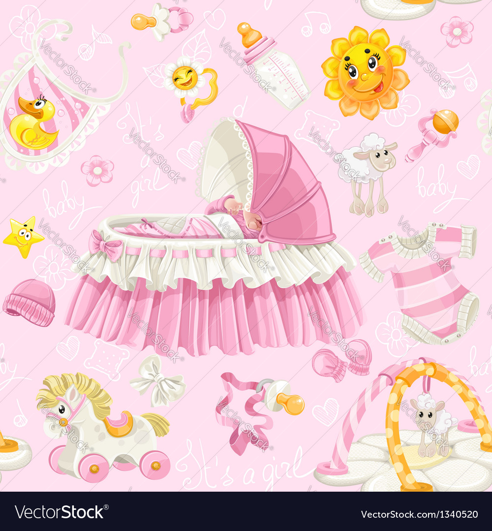 Seamless pattern of cribs toys and stuff on pink vector image