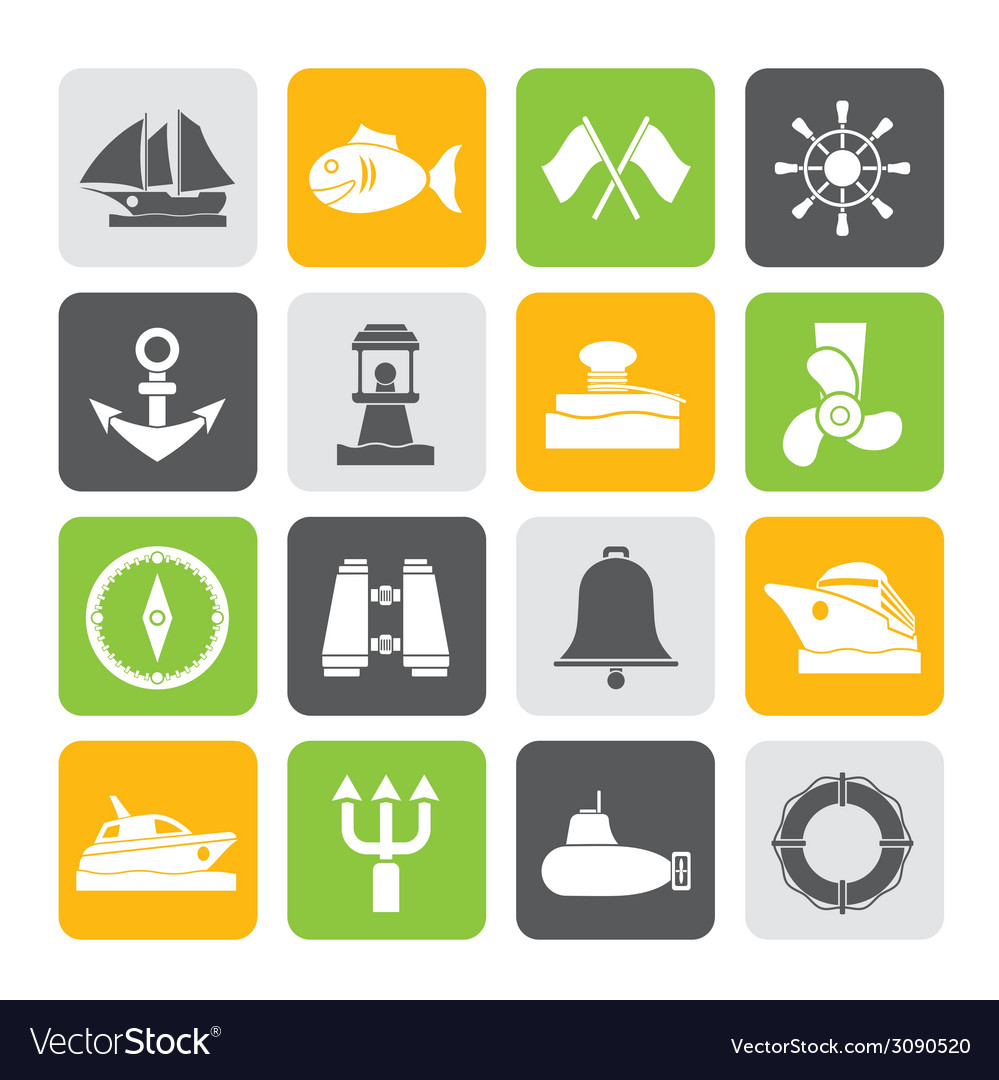 Silhouette sea and nautical icons vector image