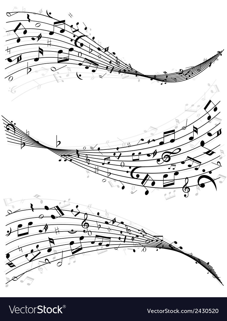 wavy lines of music notes royalty free vector image