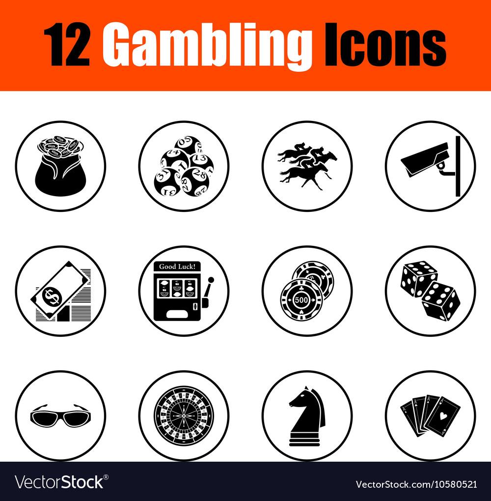 Gambling icon set vector image