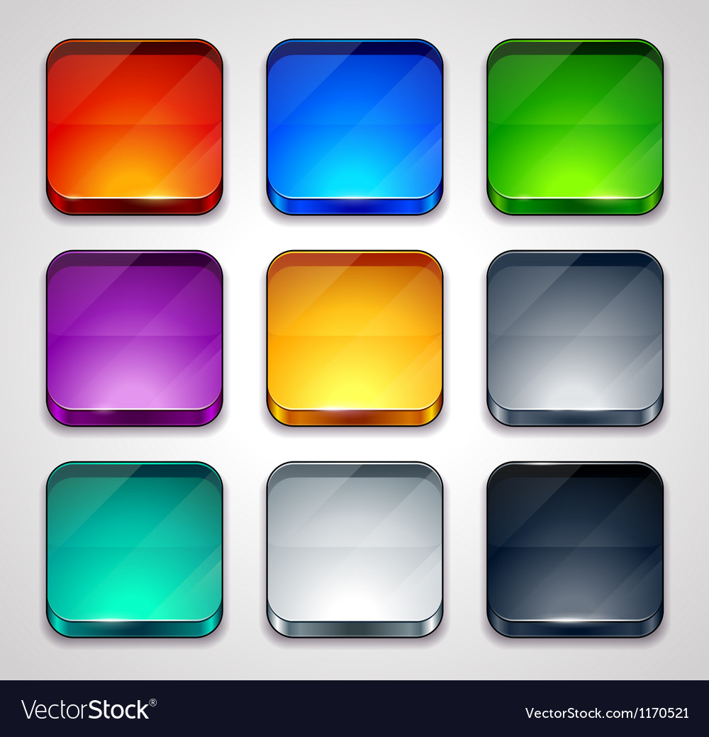 Glossy apps icons set vector image