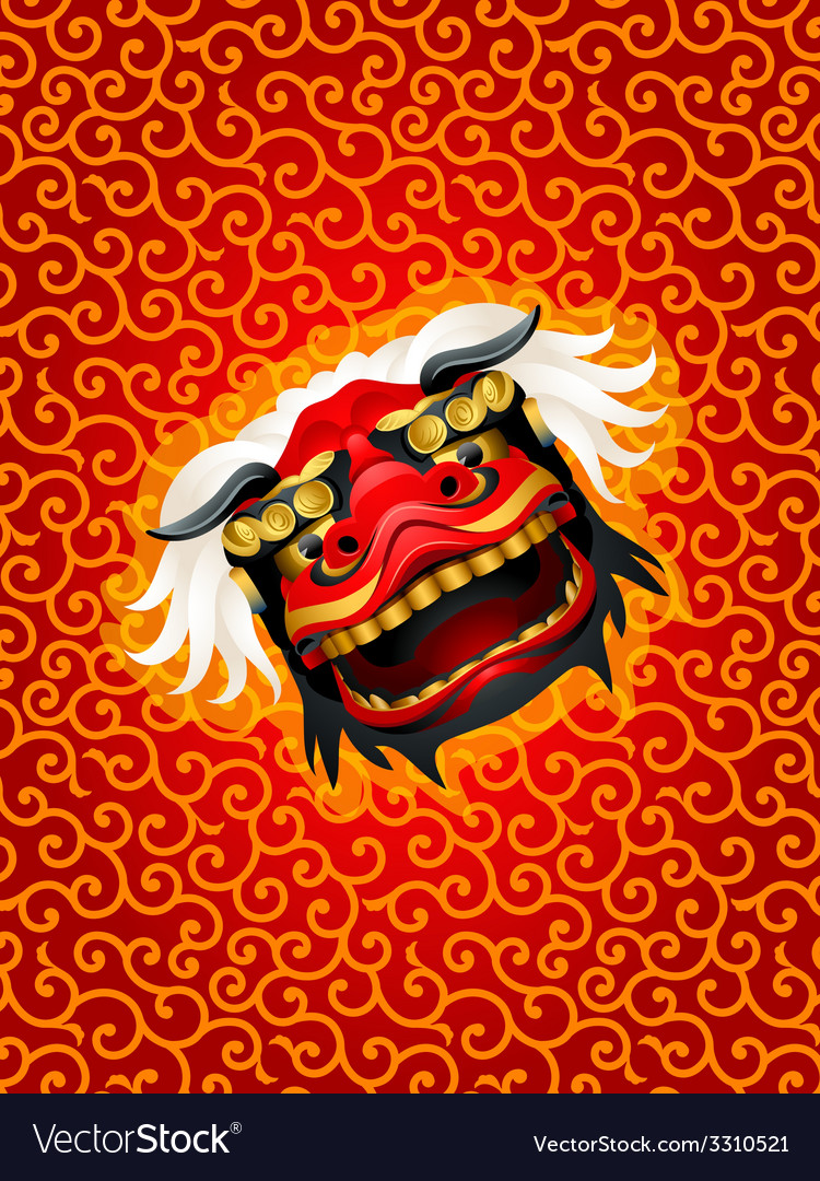 Lion mask background vector image