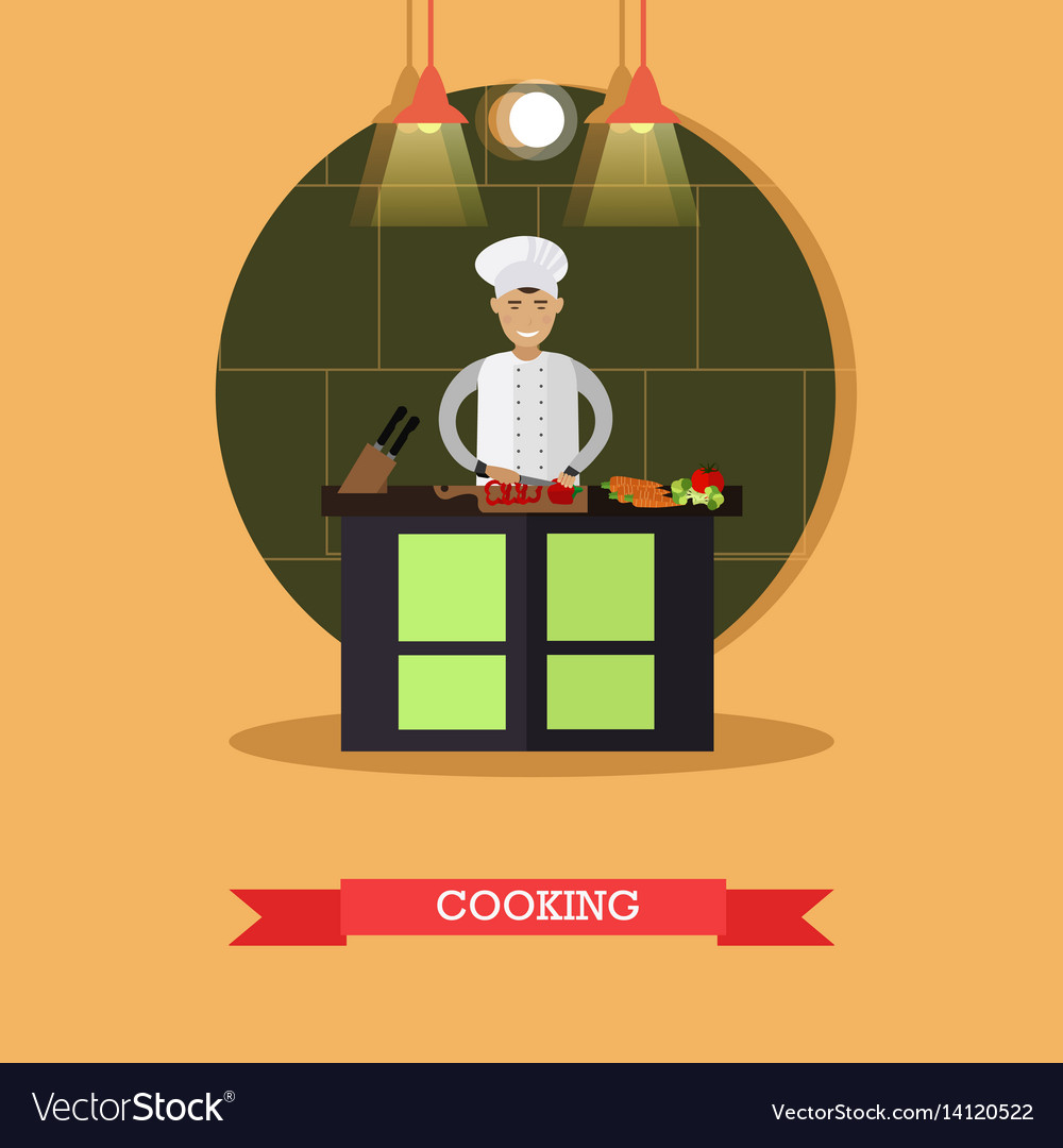 Cooking in flat style vector image