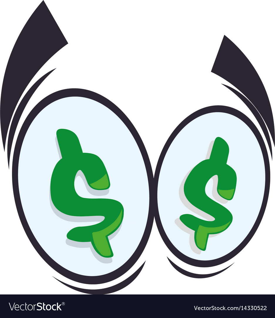 Money eyes cartoon vector image